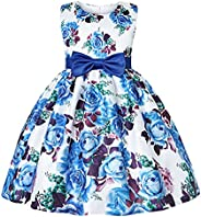 Jurebecia Girl Birthday Party Wedding Princess Flower Bridesmaid Dress Bow Tie Special Occasion Ball Gown Dres
