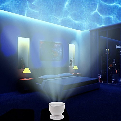LIWUYOU Night Light Projector Kids Blue Sea Ocean Waves Night Light Projection Lamp with Speaker Colorful Led Baby Night Light for Living Room Bedroom,White