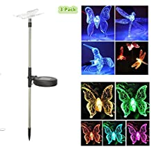 YingBang Solar Garden Lights Outdoor-3 Pack Solar Powered Stake LED Light Multi-color Changing Decorative Landscape Lighting for Lawn,Pathway,Yard,Patio,Backyard(Butterfly,Hummingbird,Dragonfly)