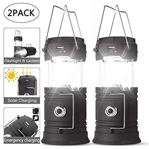 SUNNYNESS Rechargeable Camping Lantern and Flashlight 2 in 1,Battery Powered Led Bright Light Camping Lanterns,Camping Lights Solar Powered & USB Charge for Reading,Hiking,Camping,Emergency (2 Pack)