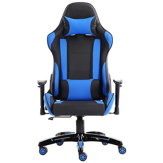 LIULIFE Silla Racing Gaming Office PC Silla Giratoria para Computadora 360 ° Altura De Rotación Ajustable con Respaldo Y Soporte Lumbar,Blue: Amazon.es: ...