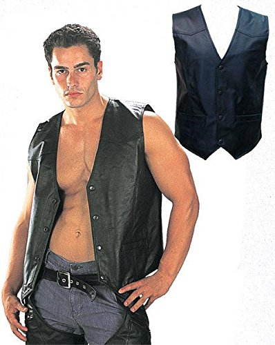 Mens 201 Classic Style Black Leather Vest - (Factory Leather Jacket)