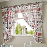 Just Contempo Bistro Cafe Pencil Pleat Kitchen Curtains, Red, 46x54 inches, Polyester 46 x 54 Inches