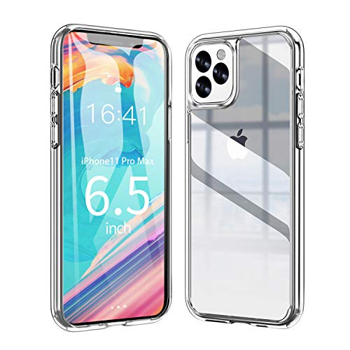 Ztotop Vitreous Luster Series Case for iPhone 11 Pro Max, Clear Tempered Glass Back Panel & Soft Silicone Bumper Frame with Anti-Scratch Shockproof Protection for iPhone 11 Pro Max 6.5-inch - HD Clear