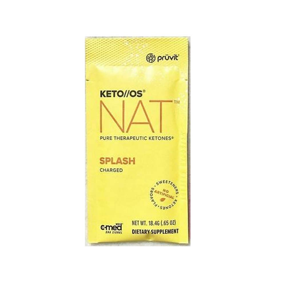 Pruvit Keto//OS NAT CHARGED, BHB Salts Ketogenic Supplement - Beta Hydroxybutyrates Exogenous Ketones for Fat Loss, Workout Energy Boost Through Fast Ketosis. 20 Sachets (Splash) by Keto//OS NAT