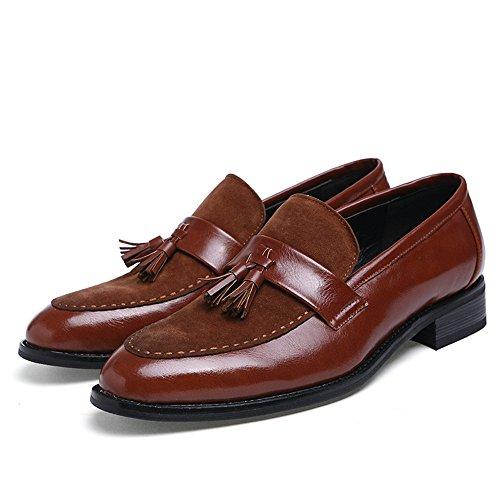 uomo Dimensione formale uomo scarpe EU Meimei lavoro da Marrone in Color da Mocassino Marrone pelle stile 41 da shoes BwqnwxZ7t