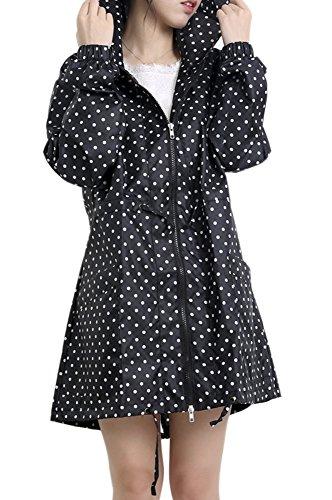 QZUnique Women's Packable Waterproof Rain Jacket Outdoor Raincoat with Zipper Black