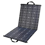 100 Watt Foldable Solar Panel Charger, Portable 18V 12V Flexible Monocrystalline Solar Panel with MC4 connector and Dual-port Output (USB 5V + DC 18V) for Nature trips, Camping, RV, Boat, Cabin, Tent