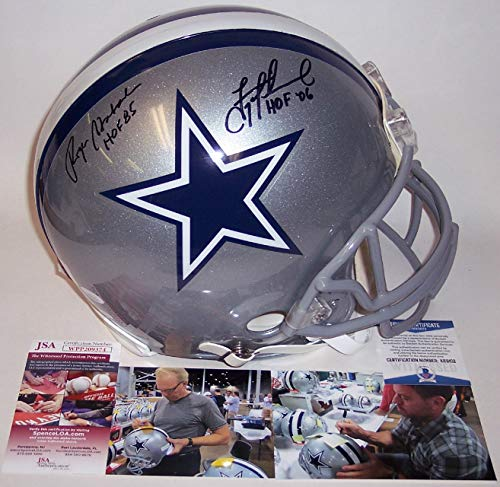9838f94fc39 Troy Aikman & Roger Staubach Autographed Hand Signed Dallas Cowboys Full  Size Authentic Football Helmet - with HOF Inscriptions - Beckett/JSA