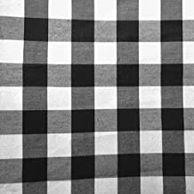 Premium Cotton Blend Gingham 1 Inch Checkers Printed 58 Inch (The Fabric Exchange) (10 YARDS, BLACK)