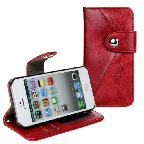 TPT Useful 2 in 1 Leather Card Wallet Button Case Stand for Iphone 5 5s (Red)
