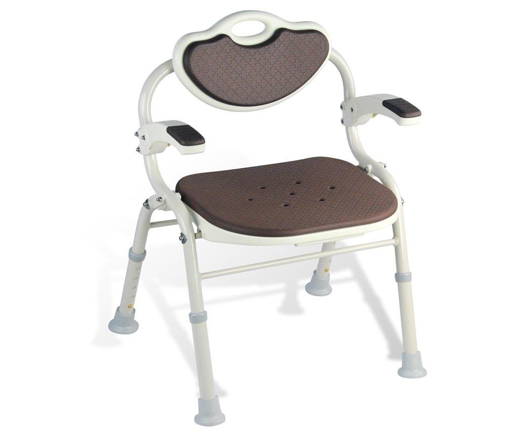 シャワー/バススツールアルミ合金シャワー座席椅子障害援助ノンスリップシャワーチェア背もたれとハンドルバスベンチ付きの高齢者/障害者/妊婦のための5つの高さで調整可能 (色 : #2) B07F3WZYL7 #2 #2