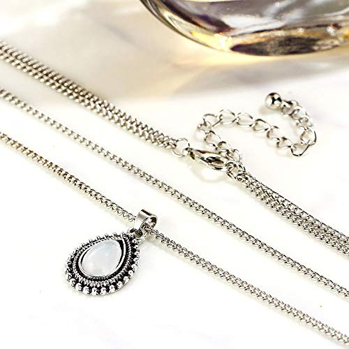 Girl Fashion Double Chain Boho Silver Jewelry Necklace Water Drop Pendant