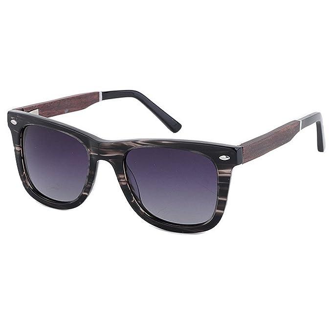 b633801fa09ce Retro Forma cuadrada estampada Gafas de sol polarizadas para hombres Acetato  de fibra y marco de madera Lente TAC Protección UV Conducción Pesca Playa  Gafas ...