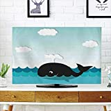 LCD TV dust Cover Strong Durability,Whale Decor,Cute Smiling Happy Black Whale Swimming in Wavy Sunny Ocean Cartoon Artwork,Black and Blue,Picture Print Design Compatible 42'' TV