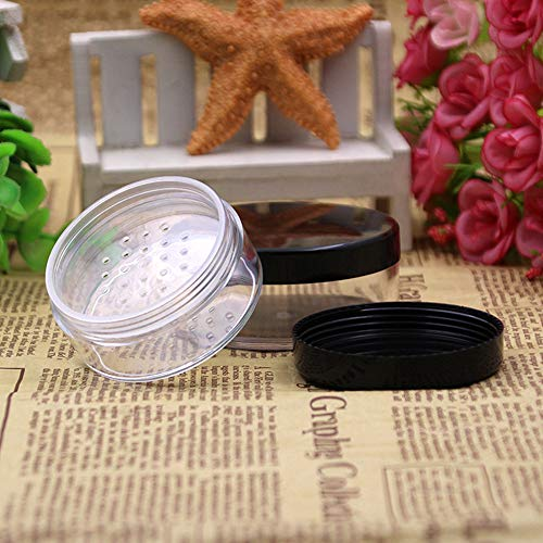 10Pcs Plastic Empty Loose Powder Jar Puff Container Sifter Box Cosmetic Case ()