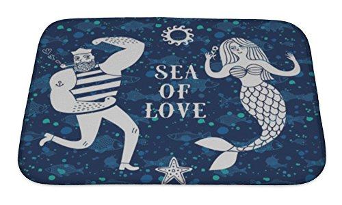 Gear New Bath Rug Mat No Slip Microfiber Memory Foam, Sea Cartoon Illustration With Sailor And Mermaid, 24x17
