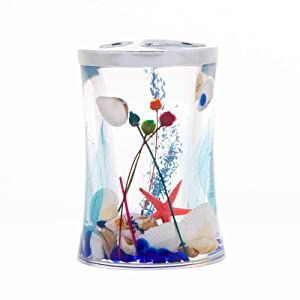 ADUTY Bathroom Accessory Acrylic Ocean Series Bathroom Organizer Toothbrush Holder Toothpaste Holder Stand with Floating Blue Glass and Sea Shell ZDAD002