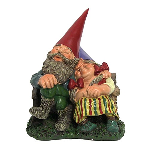 Al and Anita on Bench, 8 Inch Tall Gnome by Sunnydaze Decor