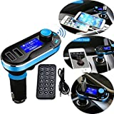 Best Wireless Multifunctional Bluetooth Handsfree Car Kit/Adapter FM Transmitter/Calling/Mp3 Player, Dual USB Ports for Cellphones Power/Battery Charge,Blue