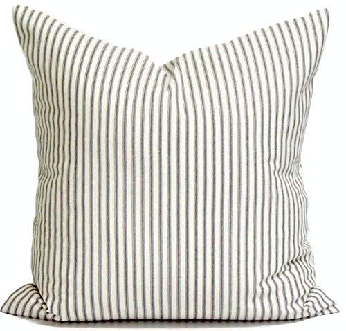 ances Lincol Ticking Stripe Pillowcase Covers French Ticking Decorative Pillowcase Charcoal Throw Pillowcase Cushion Cover Euro Sham Charcoal Gray -