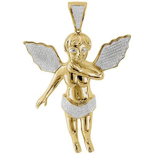 10K Yellow Gold Round Cut Diamond Angel Cherub Pendant .70 Cttw
