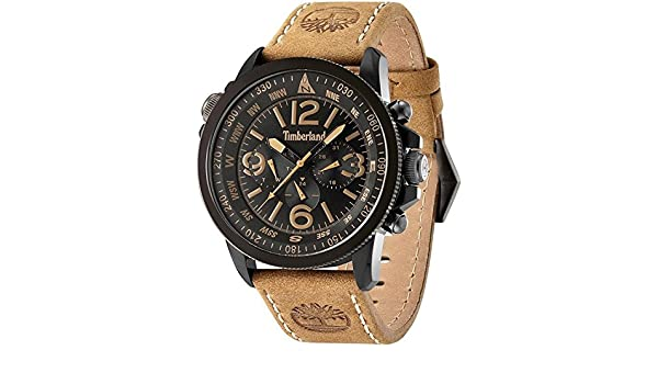 Amazon.com: Timberland Campton Mens Analog Quartz Watch with Leather Bracelet 15129JSBU-02: Watches