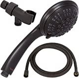 6 Function Handheld Shower Head Kit - High Pressure, Removable Hand Held Showerhead With Hose & Mount And Adjustable Rainfall Spray - Oil-Rubbed Bronze
