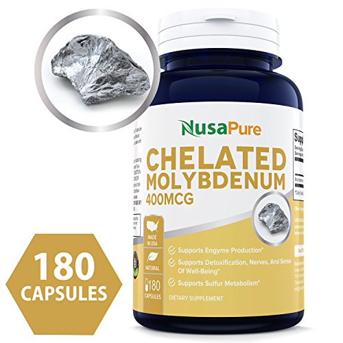 Best Chelated Molybdenum 400mcg 180caps – Supports Detoxification, Enzymes, Nerves, and Sense of Well-Being ★★★100% MONEY BACK GUARANTEE – Order Risk Free!★★★