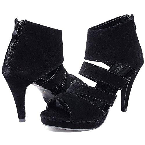 manches talon longues Femmes à Odema Sandale Chaussure à Noir manches longues à zqv7tTw