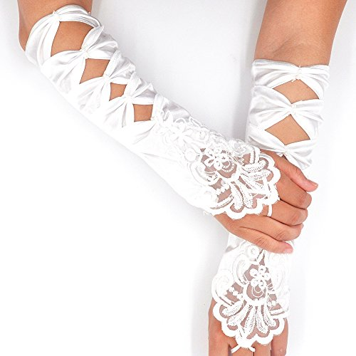 Lace Wedding Bridal Gloves Long Fingerless (ivory)
