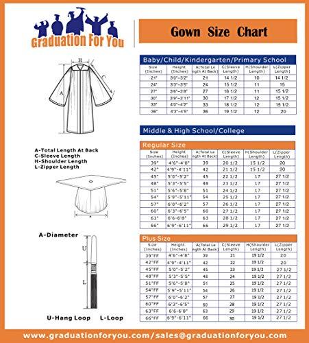 Graduationforyou Unisex Adult Matte Graduation Gown Cap With Tassel