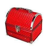 """Fantastic Cute Fashion Red makeup jewelry and cosmetic organizer with mirror D: 7.5'' 6.3'' 5.9"""""""