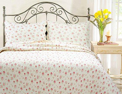 Pink Rose Garden 3-Piece Quilt Set (Full/Queen (New Style Warmer Element)