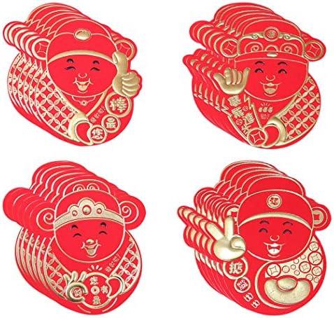 Rode enveloppen Outgeek 24 stks Chinese rode envelop de God van de rijkdom vorm geld envelop rood pakket