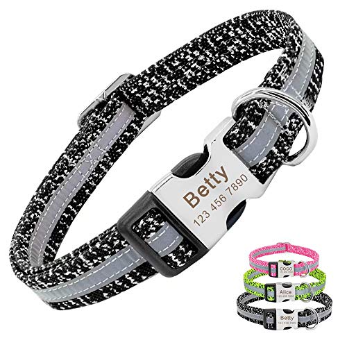 PET ARTIST Reflective Personalized Dog Collars for Small Medium Dogs, Custom Dog Collar with Name for French Bulldog Pug Pooldes Boxer Beagle, Black/Neck fit 8.5-15.5''
