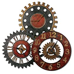 Uttermost 06762 Rusty Movements Vibrant Rustic Red Wall Clock