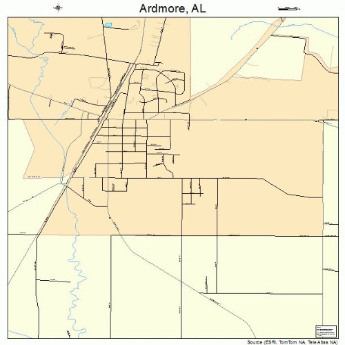 Ardmore Outdoor Wall - Large Street & Road Map of Ardmore, Alabama AL - Printed poster size wall atlas of your home town