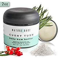 Nature Bare - All Natural Diaper Rash Cream with Bentonite Clay, Aloe, and Rosehip oil - Butt Cream with Non Nano Zinc Oxide Powder for a Happy and Healthy Baby - 1 & 2oz