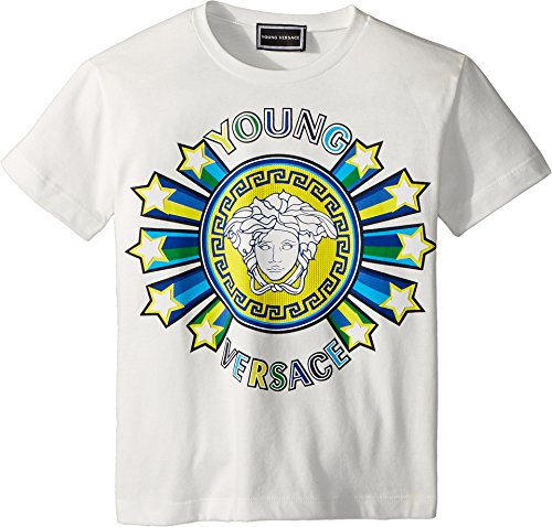 Versace Kids Baby Boy's Short Sleeve Medusa Logo Graphic Tee (Toddler/Little Kids) White - Logo Versace Medusa