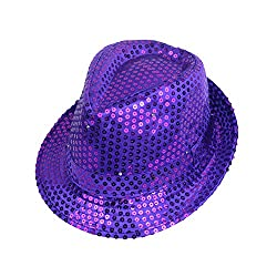 Purple Sequins With LED Flashlight Fedora hat