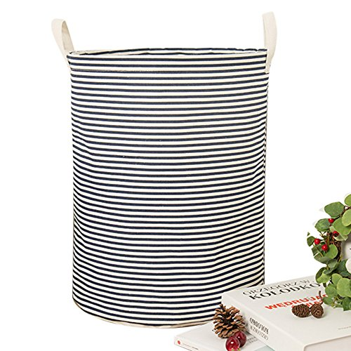 Cotton & Linen Collapsible Laundry Hamper Waterproof Laundry Basket Storage for Bedroom Nursery Dorm or Closet