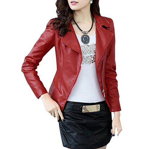 Friendshop Womens Winter Slim Bomber Genuine Leather Jacket