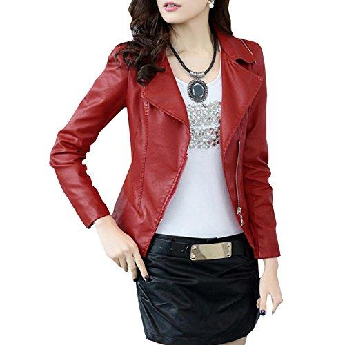 Friendshop Womens Winter Slim Bomber Genuine Leather Jacket