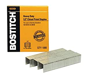 Heavy-Duty Staples, 1/2 Inch Leg, 100 Strip Count, 1,000/Box, Sold as 1 Box