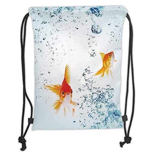 - Custom Printed Drawstring Backpacks Bags,Aquarium,Under the Aquarium Theme Cute Swimming Goldfishes with Vivid Bubbles Image,Blue Orange Yellow Soft Satin,5 Liter Capacity,Adjustable String Closu