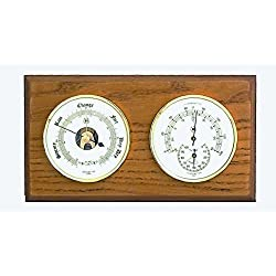 Kensington Row Coastal Collection WEATHER STATIONS -PLYMOUTH BAROMETER & THERMOMETER/HYGROMETER ON OAK BASE