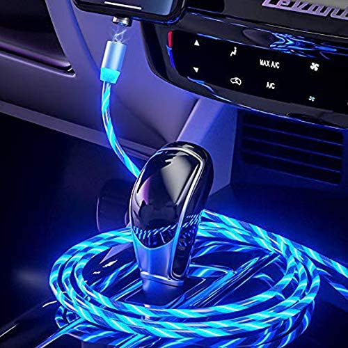CompuPort 3 in 1 Magnetic Fast Charge LED Luminous Multi Colors Quick Connect 360/° Visible Charger USB Cable Compatible with Micro//iOS//Type-C USB