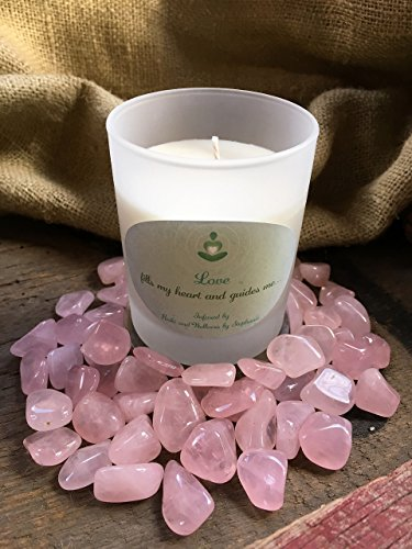 Hand Herbal Crystal (Handmade Reiki Charged Affirmation Candle, Love Peace Happiness Intention, Rose Quartz, 8oz Frosted Tumbler)