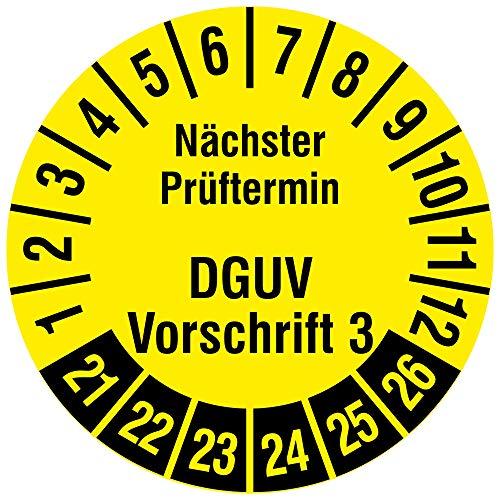 Labelident Mehrjahresprüfplakette - Nächster Prüftermin DGUV Vorschrift 3 - Ø 30 mm, Dokuemtenfolie